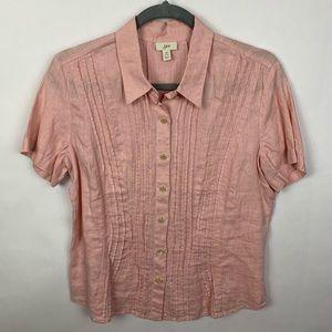 J. Jill Botton Down Pink 100% Linen Top Size SP